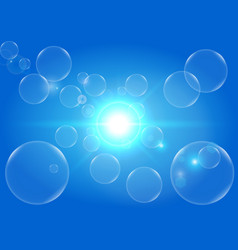 abstract light and bubbles with blue color vector image