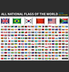 All official national flags world roll up vector