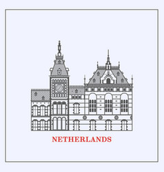 Amsterdam central station clock toweramsterdam vector