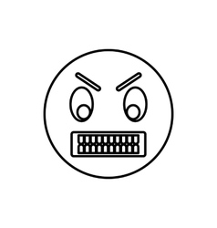 Angry emoticon icon outline style vector