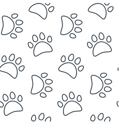 animal seamless pattern paw footprint vector image