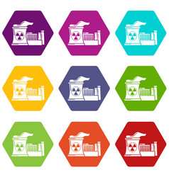 Atomic reactor icons set 9 vector