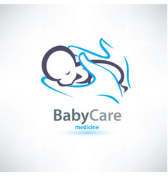 Baby sleeping in hands care stylized symbol vector