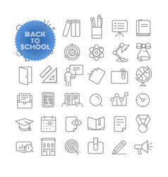 Back to school outline icon set pictogram set vector