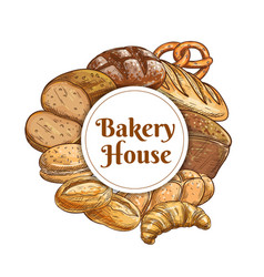 Bakery house and pastry shop food bread sketches vector