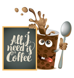 banner with cheerful cup of coffee and blackboard vector image