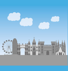 Barcelona architecture skyline cityscape with vector