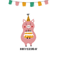 Birthday card with funny pig vector