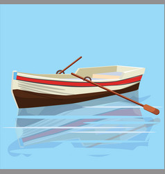 boat with oars rest travel vector image
