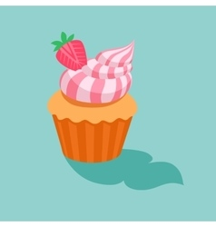 Cake with strawberry cream vector image