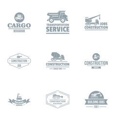 cargo logo set simple style vector image