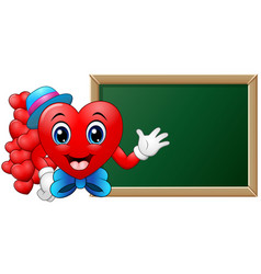 Cartoon character heart teacher in front of blank vector