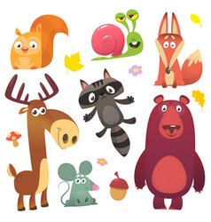cartoon forest animal characters vector image