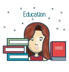cartoon girl student education books read design vector image