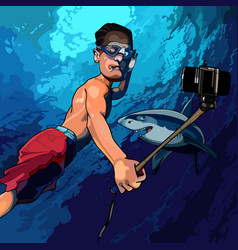 cartoon man under the water taking pictures vector image