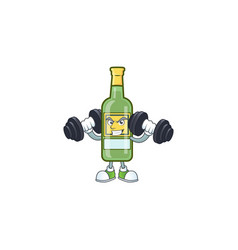 Cartoon whiskey bottle with character shape with vector