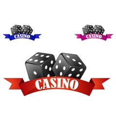 Casino dice symbol or badge with dice vector image