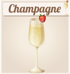 Champagne with strawberry Detailed Icon vector
