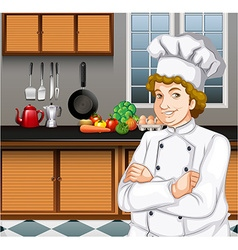 Chef working in the kitchen vector