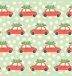 christmas pattern with red car and tree vector image