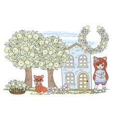 clip arts fox fairy tale color vector image