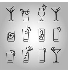 Cocktails line icons set vector image