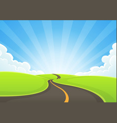 Country road snaking with blue sky and sunbeams vector
