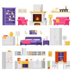 Cozy interior set of furniture and room vector