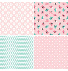 cute seamless background patterns in peach pink vector image