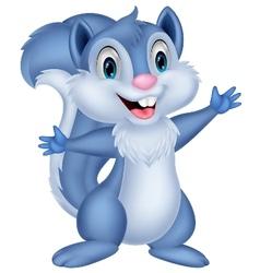 Cute squirrel cartoon waving vector image