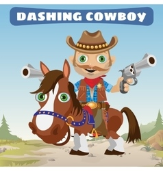 Dashing Cowboy rider on a stallion on a Wild West vector
