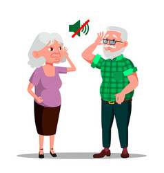 deaf senior man and woman cartoon vector image