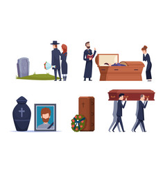Death service grave ceremony tomb cemetery people vector