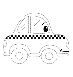Dotted shape kawaii happy taxi car transport vector