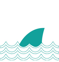 Dotted shape nature ocean waves with shark animal vector