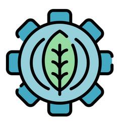 Eco leaf farm gear icon color outline vector