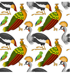 exotic birds seamless pattern vector image