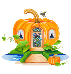 Fairy little house made of pumpkin vector