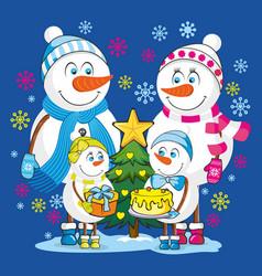 Family snowmen vector