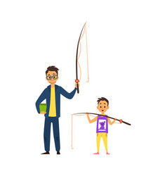 father and son going fishing - cartoon man and boy vector image
