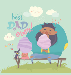 father with his daughter eating cotton candy vector image