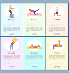 fitness people crunches and donkey kicks set vector image