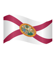 Flag of florida waving on white background vector