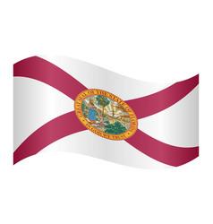 flag of florida waving on white background vector image