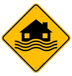 Flood Disaster Yellow Sign vector