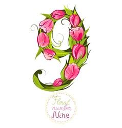 Floral number nine vector