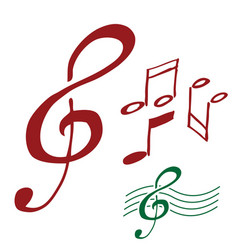 G clef and music notes hand drawn vector