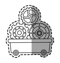 Gears inside cart design vector