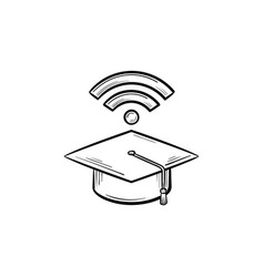graduation cap with network wifi sign sketch icon vector image