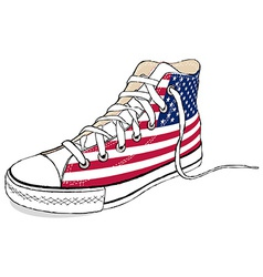 hand draw modern sport shoes with USA flag vector image